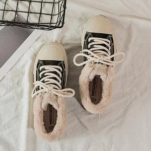 Womens Casual Nubuck Lace-Up Snow Sneakers