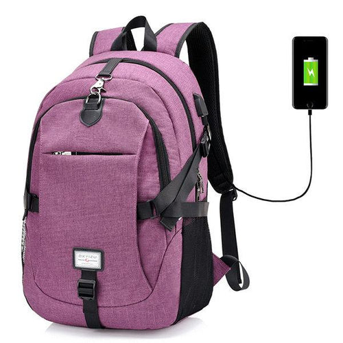 17 Inch Nylon Laptop Bag With USB Charger Casual Business Backpack