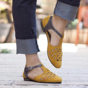 Women Spring Sandals Cutout Flat Hollow Sandals Summer Shoes