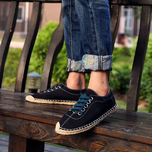 Men Canvas Pure Color Korean Style Lace Up Casual Shoes