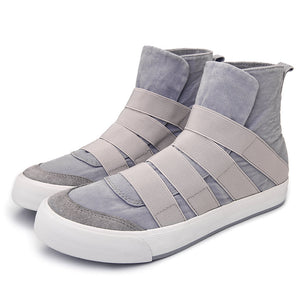 Men High Top Canvas Elastic Slip On Soft Casual Trainers