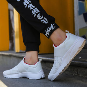 Men Knitted Fabric Breathable Elastic Slip On Athletic Running Shoes
