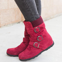 Load image into Gallery viewer, Cushioned Low-Calf Buckled Boots Low Heel Knitted Fabric Zipper Slip On Boots