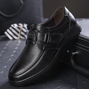 Men Genuine Leather Hook Loop Soft Sole Casual Shoes
