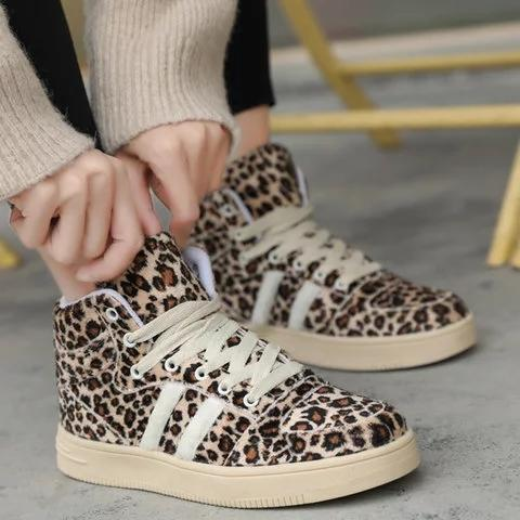Leopard Daily Low Heel Winter Shoes Casual Sneakers Comfy Ankle Boots