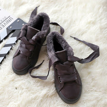 Load image into Gallery viewer, Womens Lace-Up Artificial Suede Flat Heel Warm Sneakers