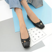 Load image into Gallery viewer, PU Square Toe Bowknot Slip on Casual Tod's Comfortable Flat Loafers Simple