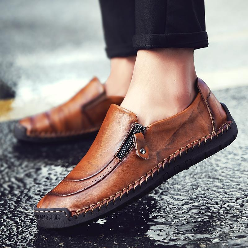 Men Hand Stitching Zipper Slip-ons Faxu  Leather Shoes
