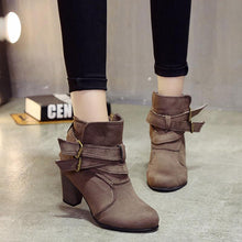 Load image into Gallery viewer, Coffee Plus Size Spring/Fall Adjustable Buckle Suede Chunky Heel Boots