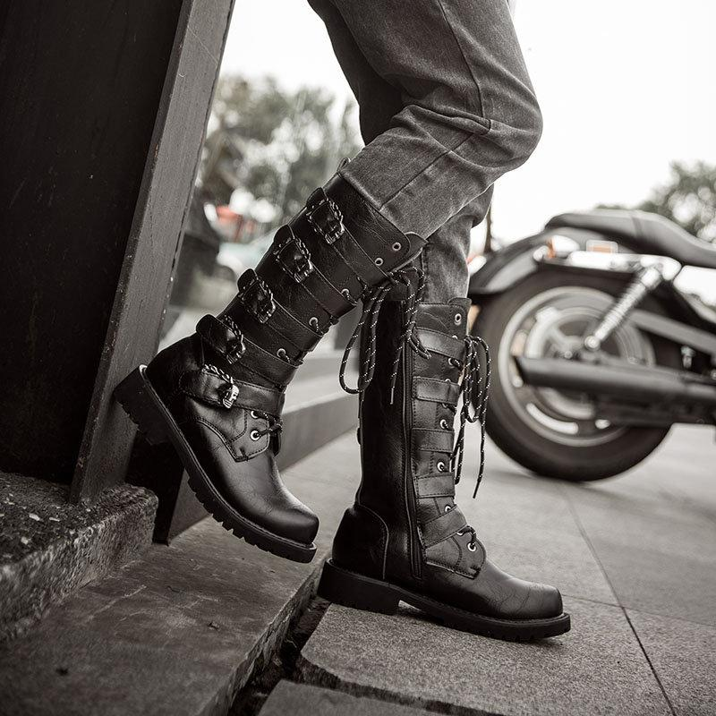 Men Stylish Metal Buckle Side Zipper High Top Boots