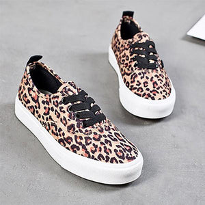 Leopard Print Casual Canvas Non-slip Women Flats Loafers Round Slip On Shoes