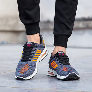 7f6252d99fd Men Breathable Knitted Fabric Air-cushion Sole Sport Running Sneakers