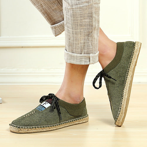 Men Linen Breathable Soft Flat Slip On Espadrilles