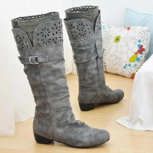Wide Calf Chunky Heel Slip On Artificial Leather Matte Flock Mid Calf High Boots