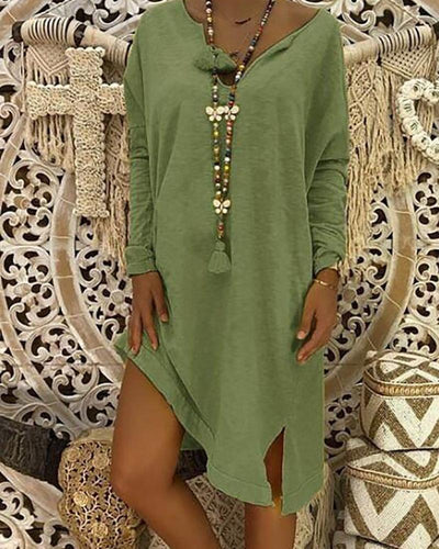 Women Plus Size Mid-length Loose Casual Dress