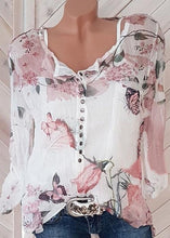 Load image into Gallery viewer, Fashionable Floral Printed V-neck Long Sleeve Blouses