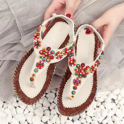 Bohemia Flowers Diamond Beads Shape Splice Flat Summer Sandals