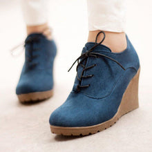 Load image into Gallery viewer, Womens Casual Lace-up Nubuck Wedge Heel Shoes