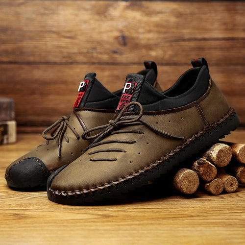 Large Size Men Hand Stitching Soft Sole Slip On Casual Leather Shoes