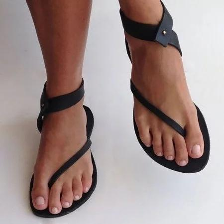 Black Sandals Women Flip Flops Ankle Wrap Shoes Summer Casual