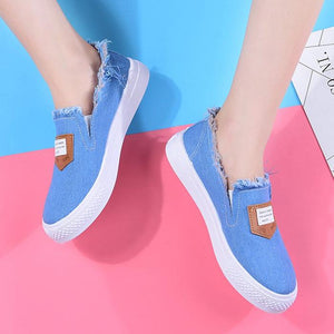 Casual Canvas Non-slip Women Flats Loafers Round Slip On Shoes