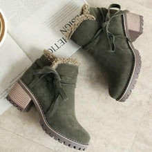 Load image into Gallery viewer, Female Winter Shoes Fur Warm Snow Boots Chunky Heels Ankle Boots