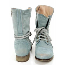 Load image into Gallery viewer, Women PU Booties Casual Comfort Lace Up Wedge Shoes