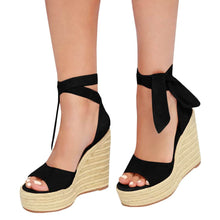 Load image into Gallery viewer, Strappy Lace Up Platform Wedge Espadrille Bohemia Cute Soft Faux Leather