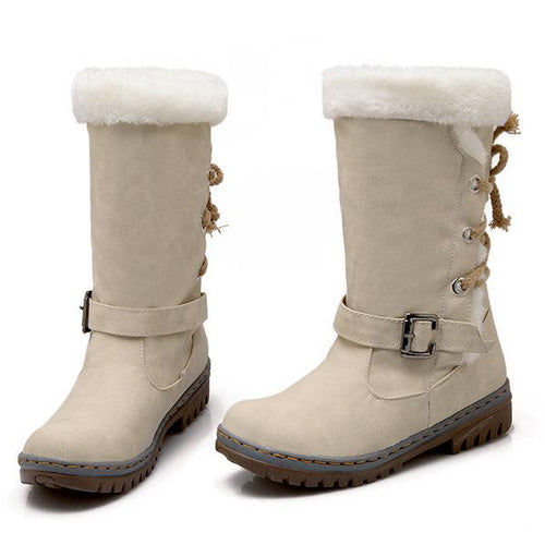 Women Buckle Fur Lining Mid Calf Flat Winter Boots