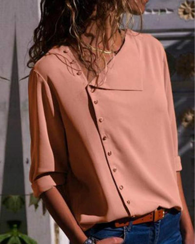 Women Solid Slant Irregular Long Sleeve Shirt