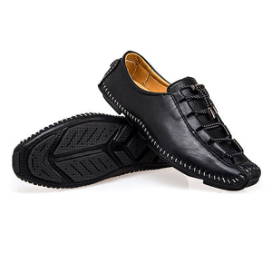 Men Stylish Hand Stitching Adjustable Laces Soft Leather Loafers