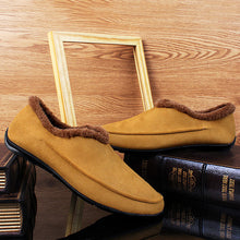 Load image into Gallery viewer, Men Large Size Plush Lining Microfiber Leather Non-slip Casual Slippers