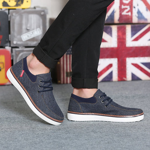 Men Denim Canvas British Style Low Top Lace Up Casual Shoes