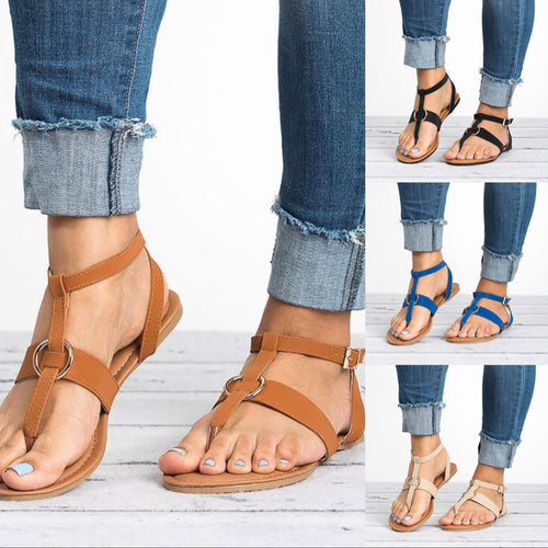 Women Summer Plain Flat Ankle Strap Peep Toe Casual Gladiator Sandals