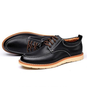 Men British Style Low Top Breathable Flat Lace Up Casual Shoes