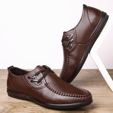 Load image into Gallery viewer, Men Metal Buckle Handmade  Leather Non-slip Soft Sole Casual Driving Shoes