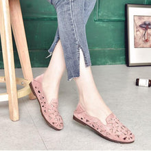 Load image into Gallery viewer, Casual Hollow Out Slip on Floral Comfortable Flat Loafers Artificial Leather Simple