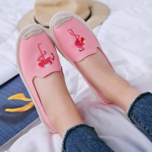 Women Canvas Flat Loafers Casual Flamingo Embroidery Espadrille Shoes