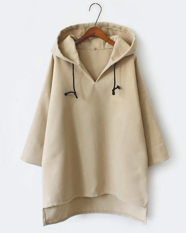 Loose Solid Color Wool Hooded Sweatshirt