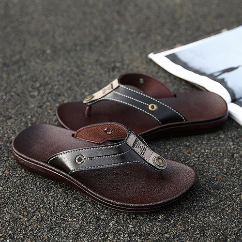 Men Metal Button Breathable Light Weight Flip Flops