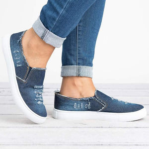 d7eec03043d Large Size Washed Denim Loafers Flats Canvas Shoes Women Casual Slip on