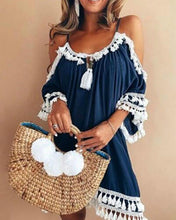 Load image into Gallery viewer, A-line Women Date Elegant Cold Shoulder Solid Summer Fall Dress