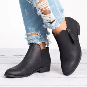 Tassel Side Zipper Booties Simple Pure Color Boots Causal Chunky Low Heel