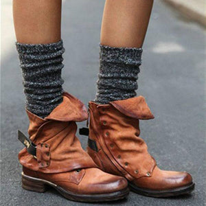 Woman's Pleated Ankle Round Toe Low Heel Short Boots