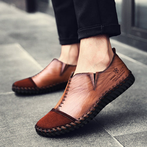 Men Vintage Cow Leather Hand Stitching Soft Loafers Casual Shoes