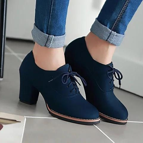 Women Artificial Suede Chunky Heel Oxford Casual Comfort Plus Size Shoes