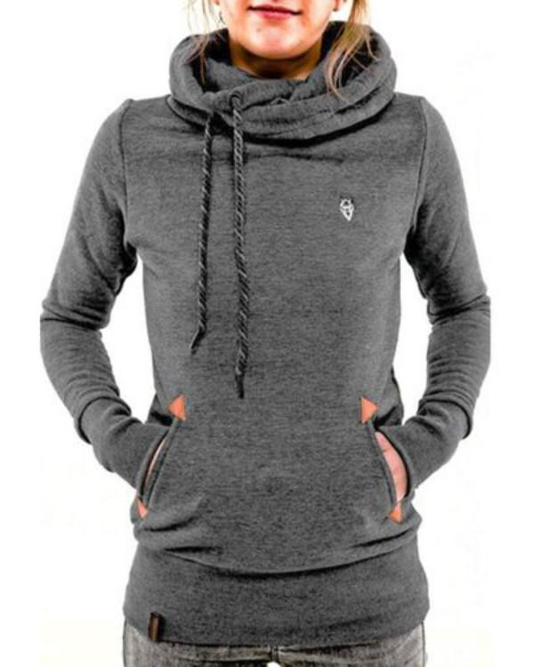 Women's Long Sleeve Pullover Hooded Pocket Sweatshirt Jumper Tops
