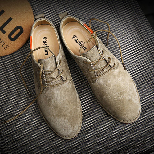 Men British Style Pointed Toe Oxfords Flat Lace Up Casual Shoes
