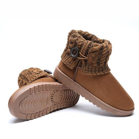 Women Flat Heel Button Casual Fold Knitted Paneled Short Snow Boots