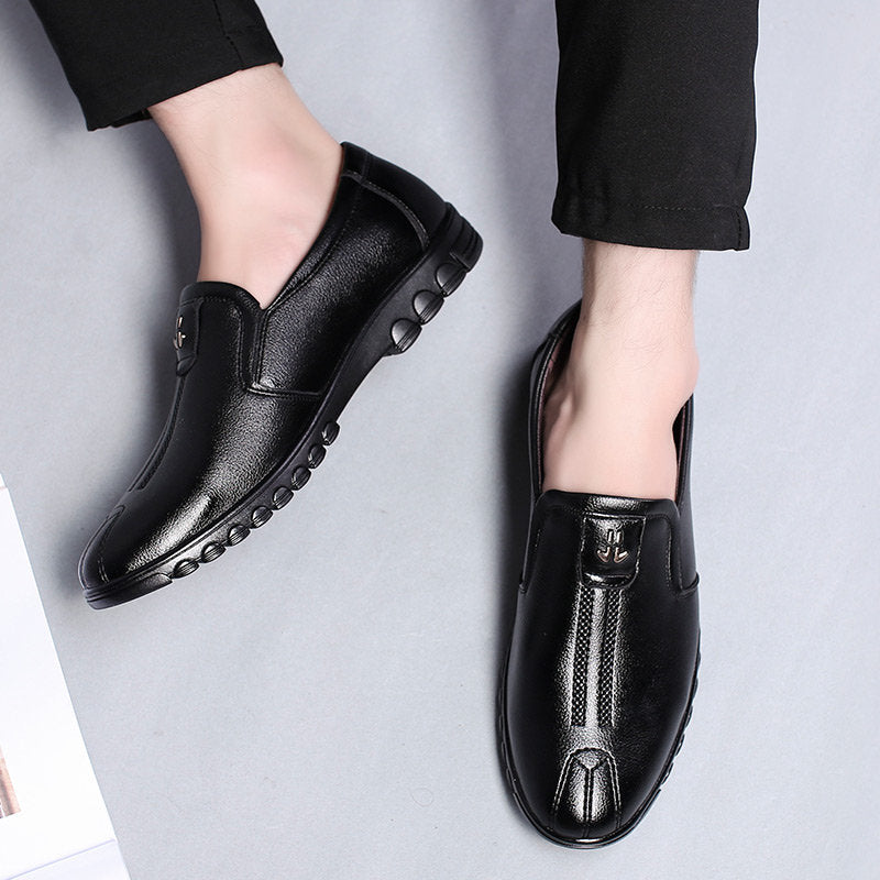 bf1e6eeb1b8f Men Pure Color Leather Slip Resistant Slip On Casual Shoes – shoeslly